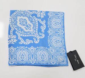 Cesare Attolini Light Blue Damask Silk Pocket Square Handmade Italy