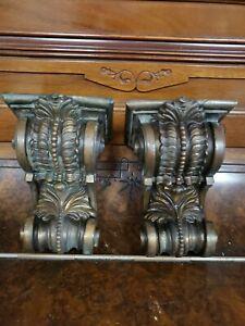 "SET of 2 ANTIQUE BRONZE VICTORIAN STYLE cast iron corbelsp 6"" x 4"""