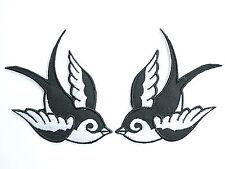 "Pair 2Tone Swallows Bird Rockabilly Tattoo Biker Embroidered Iron on Patch 3.9"""