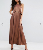RRP £60 Ex As0s Metallic Pleated Crop Top Maxi Dress - Brand New Without Tags