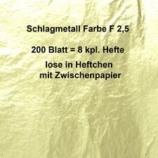 200 Blatt Schlagmetall F 2,5 (ähnl.Blattgold Blattmetall) Imitat 16x16 cm Hefte!