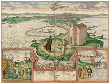 Cádiz Andalusia Spain bird's-eye view map Braun Hogenberg ca.1598