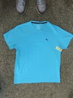 TOMMY BAHAMA Men's Sz L Aqua Black Marlin Short sleeve crew neck T-Shirt NEW
