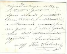 Tommaso Salvini Signed Note 1886 / Autographed Italian Actor