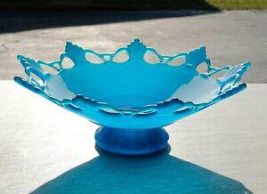 Vintage Pedestal Bowl Blue Frosted Glass by Westmoreland, Mid-Century Ornate Rim