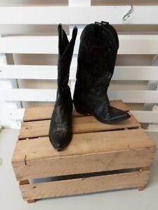 Vintage Black Leather Justin Riding Cowboy Boots Size 7.5 USA