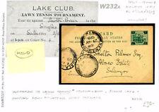 W232a 1919 MALAYA FMS Postcard *LAWN TENNIS TOURNAMENT* Selangor via Semenyih