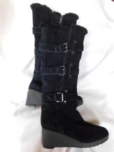 "KHOMBU knee high BLACK SUEDE & shearling BOOTS 2.5"" WEDGE heels SHOES 8.5  9 M"
