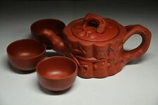 BEAUTIFUL CHINESE YIXING ZISHA HANDMADE CARVED SANYOU TEAPOT&3 CUP zrf