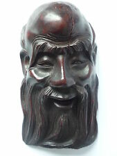 Old Oriental Chinese Wooden Hand Carved Old Man Mask