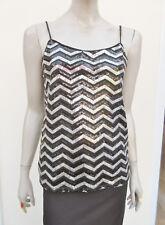 Vero Moda - Womens Black Silver Sequinned Strappy Top - size S
