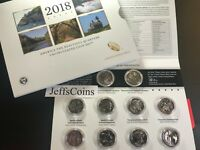 2018 P D US Mint America The Beautiful Uncirculated 10 Coin Quarter PD Set 18AA