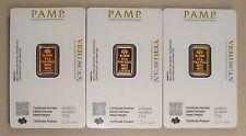 Lot of (3) Pamp Suisse .9999 Fine 2.5 Gram Gold Bullion Bars