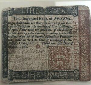1771 Pennsylvania 5 five shillings