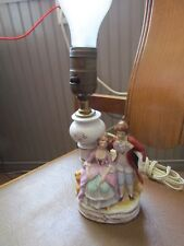 Vintage Victorian man and lady figures on Cute Bedside Occasional Lamp