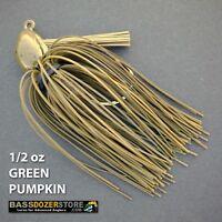 Bassdozer PUNCH 'N FLIP jig. 1/2 oz GREEN PUMPKIN weedless bass jigs lures