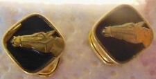 Old Cufflinks plated GOLD AND EMAIL black and head HORSE
