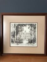 Charles W Dahlgreen pencil signed etching of North Park College Chicago Illinois