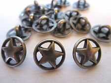 """1 1/2""""  *** ROUND WHEEL - STAR*** Metal Buttons (12 pc)  OLD SILVER -PEWTER TONE"""
