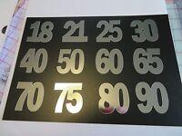 12 x Die Cut Mirror Card Number 18 21 25 30 40 50 60 65 70 75 80 90 crafts cards