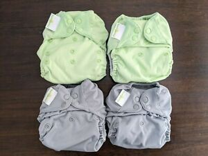 bumgenius Freetime all-in-one cloth nappies (2x green, 2x grey). Birth to potty.