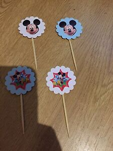 BRAND NEW 8X DISNEY MICKEY MOUSE ,BLUE OR WHITE  CUPCAKE TOPPERS
