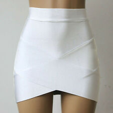 Women's Bandage Bodycon Pencil Skirt Clubwear Tight Mini Skirt Plain Wrap Dress