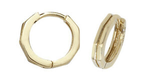 9ct Yellow Gold Huggie Hinged Hoop Small Earrings 10mm British made Hallmarked