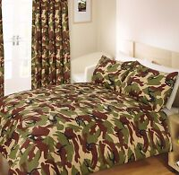 Camouflage Army Green Brown Duvet Quilt Cover Bedding Set Curtain Floor Cushion