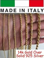 Men's Women's Real 14k Gold Over Solid 925 Sterling Silver Rope Chain 1.5-5mm