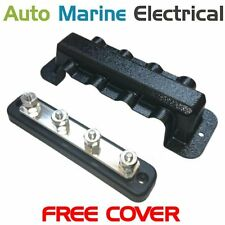 Auto & Marine Power Distribution Bus Bar 4 Way Stud with Cover - 150A