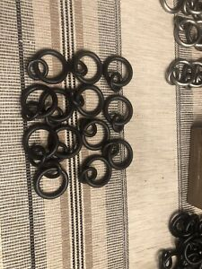Pottery Barn Set Of 13 SMALL Cast Iron Curtain Double Round Rings Antique Bronze