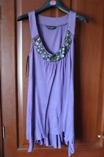 Dorothy Perkins Jewelled tunic, purple, size 14, viscose