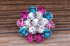 "3D Rhinestone Drill Snaps Chunk Charm Button Fit For  Leather Bracelets ""F1"