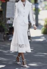 Occasions White Denim Skirt Suit Women's Wedding Chruch Evening Dinner plus20W2X