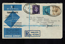 1939 Wimbledon England First Flight Cover to Detroit USA Imperial Airways FFC