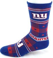 New York Giants Football NFL Blue Red Quilt Plaid Crew Socks