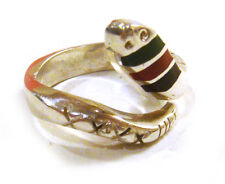 TAXCO Mexico .925 Sterling Silver Snake Shape Ring Multisone Inlays Size 8