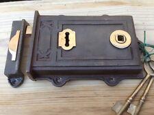 ~ Victorian Style ~  Davenport ~ Cast Iron & Brass Rim Lock ~