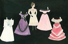 """5"""" Handmade Paper Doll w 4 Costumes - Fancy & Festive 1880s"""