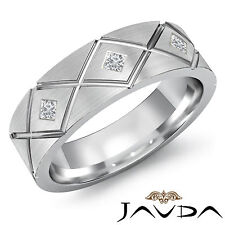 Mens 3 Stone Princess Diamond Half Wedding Band Solid Ring 14k White Gold 0.20Ct