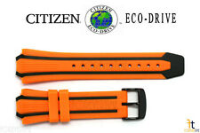 Citizen Eco-Drive BN0097-11E Orange / Black Rubber Watch Band Strap