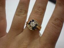 14KYG DIAMOND/SAPPHIRE 1.25CTW ENGAGEMENT RING, 4.3GR(XPV312-01)