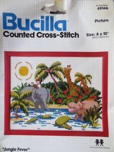 SALE BUCILLA ctd cross stitch kit jungle fever animals