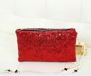 Women Ladies Glitter Sparkling Sequins Evening Party Clutch Bag Purse