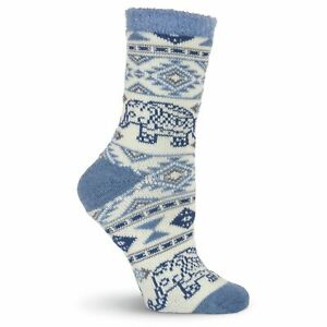 K.Bell Double Layer Cozy Warm Nordic Print Socks Ladies Crew Black Blue New
