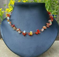 *Freedom Tree* Carnelian Gemstone Necklace Hand Woven Chakra /Healing