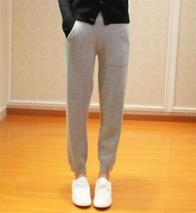 New Ladies Luxury Cashmere High Waist Trousers Casual Knitting Long Jogger Pants