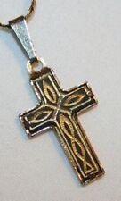 Petite Swirled Goldtone Faux Damacene Cross Necklace +++