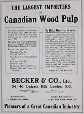1917 WWI WW1 CANADIAN ARMY PRINT CANADIAN WOOD PULP IMPORTERS BECKER & CO LONDON